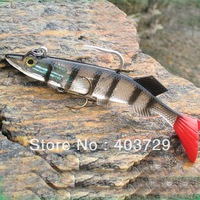 6pcs 14cm/33g big size soft fishing lure inside with jig head Strong VMC fishing hook mixed colors Free shipping