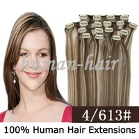 15inch 18inch 20inch clip in Remy hair extension #4/613 mix color 70gram containing 7pieces/pack