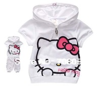 Free shipping 5sets/lot  fashion cute hello kitty children clothing short sleeve T-shirt +pants girls suit kids clothes set