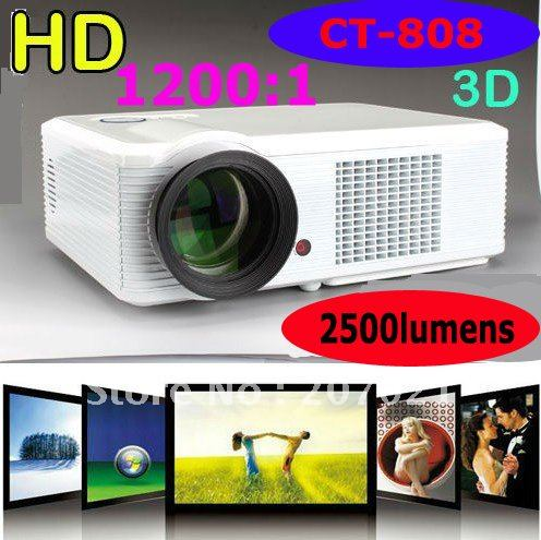 2500lumens High brightness home theater projectors mini portable for computer 1024x768 led tv video projekor with DVB-T(China (Mainland))