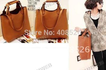 New Fashion 2014 women's Handbag  PU Leather Vintage  Tote Shopping Bag Adjustable Handle free shipping 2436