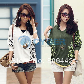 Women's fashion V-Neck Batwing Dolman Half sleeve t-shirt Letter Prints top Blouses 3 colors +  3428