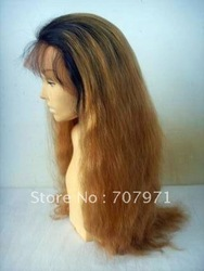 Chinese Virgin T#1b/#8 Light yaki Wavy Silk top full lace wig(China (Mainland))
