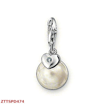 Free Shipping 925 sterling silver Charm pendant with hand crafted white pearl and a heart charm with a sparkling CZ(China (Mainland))