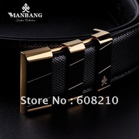 Hot sale+free shipping fashion men's genunie leather belts ,Hight quality men leather belts MB0070(Gold diamond Stripe )