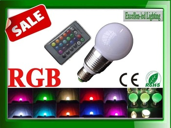 3W E27 RGB led Bulb with Remote Control DHL(3-4days) free shipping