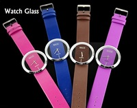 New Fashion Ladies' Watch Simple Transparent Dial Quartz Wrist watch with PU Leather Strap 7 Colors Free Shipping