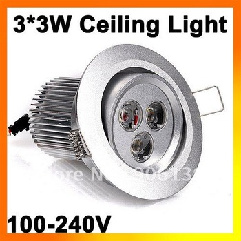 Wholesale 9W LED warm White Ceiling Light Down Recessed Lamp 85-265V + driver