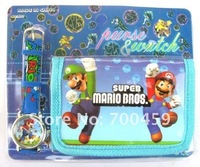 5 Sets Mario watch Wristwatch and purse wallet Party Gifts