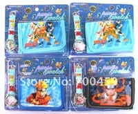 Wholesale Cute 5 Sets Naruto Watches wristwatches with XMAS Gift+ Purses Wallets