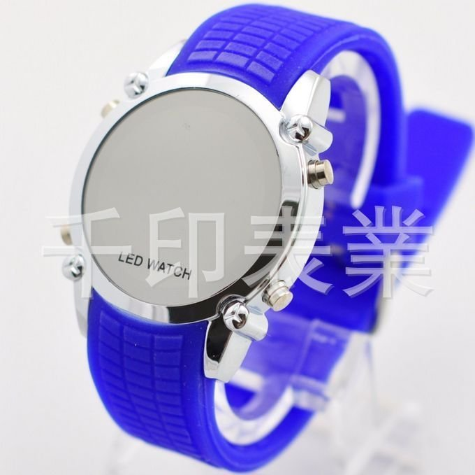 Free Shipping+10pcs+Fashion Makeup Mirror Electronic LED Watch With Colorful Silicone Strap+Yellow/Green/Pink/Purple/Blue(China (Mainland))
