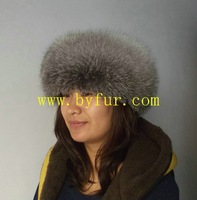 BY-H002 siver fox fur hat fox hat, round fur hat with lamb lether top
