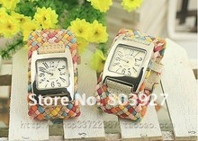 Wholesale - Korean woman watches colorful woven table sweet female fashion statement broadband Table Table(China (Mainland))