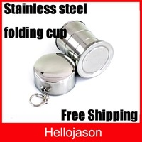 Free Shipping Stainless Steel 150ml /60ml Travel Folding Collapsible Cup 100pcs/lot
