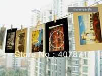 Suspension type paper photo frame picture frame 6 inch Photo wall combined send wood clamp