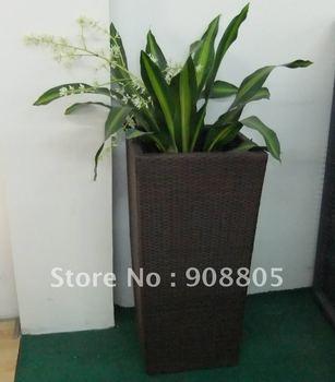 poolside PE rattan flower pot
