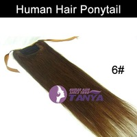 Ponytail Extension 6# Chestnut Brown 16/20/24inch 100g/piece 100% Real Hair Accept Custom Order Free Shipping