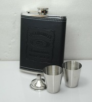 7oz Stainless Steel Hip Flask 2Cups 1 Funnel Black Faux Leather Wrap#7D2-2CF