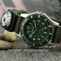 MINGEN SHOP - Army Green Fabric Strap Outdoor sport watch Quartz watch S116-2 watch wholesale / The detachable compass