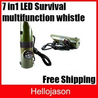 Free Shipping 6 in 1 LED Light Survival multifunction whistle Multi whistle Outdoor 120pcs/lot