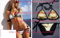 Lot of 5set Sequin sexy fashion Halter Bikini Swimwear NEW Bikini Swimwear bra+briefs Swimwear +Free Shipping