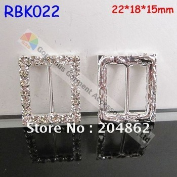 Free shipping 100pcs/lot  Sliver Rectangle wedding invitation rhinestone slide buckle