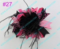 free shipping 500pcs NEWEST 4.5''  feather hair bows fashion boutique girl boutique hair bows Animal print ribbon bows