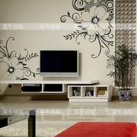 Fashion Modern Beautiful Intoxicating flower DIY PVC Wall Sticker/home sticker for TV background/living room/bedroom