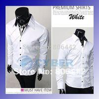 Fashion Mens Casual Slim Fit Stylish Dress Shirts White M,L,XL size Free Shipping