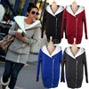 2012 Korea Women Hoodies Coat Warm Zip Up Outerwear Sweatshirts 2 Colors Black Gray free shipping 3269