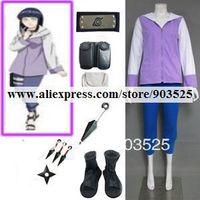 Free Shipping Naruto Shippuden Hinata Hyuga Cosplay Costume with Accessories
