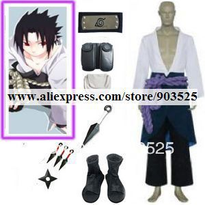 Free Shipping Naruto Shippuden Sasuke Uchiha 3rd Cosplay Costume prop set for cosplay party or halloween, Any Measurements
