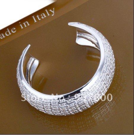 925 silver jewelry wholesale fashion bag side net flower charm bangles Ladies jewelry bracelet free shipping 5piece/lot(China (Mainland))