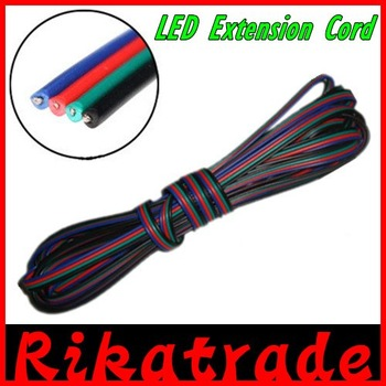 Free shipping  5m 4pins LED RGB strip light cable wire extension cord