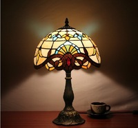 Hot Sale Free Shipping,Dia.30cm Baroque Tiffany Style Colorful Glass Table Lamp,YSL-TD0075