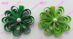 free shipping 120ps fashion petal flower clips loopy flower clips silk flower clips colorful rose ribbon hair bows(China (Mainland))