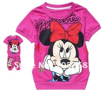EMS free shipping Hello kitty printed Children's suits,Hooded short sleeve T-shirt+pants,Girls clothes set pink 8332