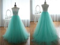 AST04A  Beautiful Sleeveless White Lace Green Tull Ball Gown Long Prom Dresses 2014