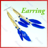Free Shipping 3 pairs/lot Trendy Real Feather Chains Fringes with Rhinestones Earrings Deep Blue