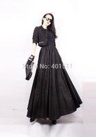 S0044 Custom made black color  Free shipping high quality women's fashion long linen skirt