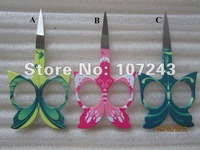 Free Shipping --nail scissors,colorful butterfly scissors (3 colors),hot selling design,20 pcs/pack