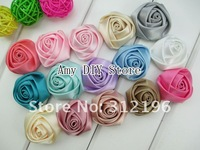 EMS Free Shipping!!500pcs/lot 1.1-1.4'' Multilayer Ribbon Rosettes,Rose Flowers,Hair Accessories(Mixed colors is available)
