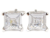 Luxury Limited Edition High Quality Novelty Square Zircon Stone Wedding Cufflinks 18K Platinum  Plated