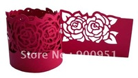 NR-006Lace Rose paper Napkin Rings ,Guaranteed100%,250g pearl shiny paper