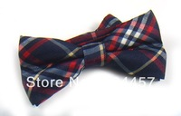 Mens Pre-tied Adjustable Bowtie Bow Tie Navy Blue Red White Plaid Neck Bow Tie 420 Color Can Choose Free Shipping 10 pcs