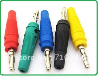 FREE SHIP!Best Wholesale FREE SHIP!!NEW 5COLORS TO CHOOSE  4MM NICKEL Banana Plug FOR BINDING POST Speaker Meter Test 100pcs/lot