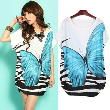 2013 Summer New Ice Silk Cotton Butterfly Printed Loose T Shirt Plus Size Tops Women Mini Dress Maxi 80179