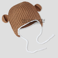 Baby Crochet Hat Newborn All Natural Organic Cotton Chunky Mini monkey Flap infant Hat Cutest Photo Prop Infant
