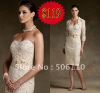 2012 Custom Light Champagne Sweetheart lace Hand FLower Knee length Mother of the Bride Dresses Evening prom Bolero dress Gowns