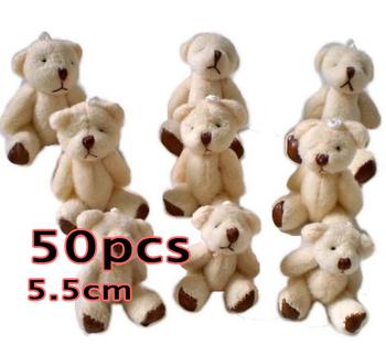 Wholesale 50pcs Teddy bear flush baby toys, plush toys. Soft Puppy Child Favor , 5.5CM